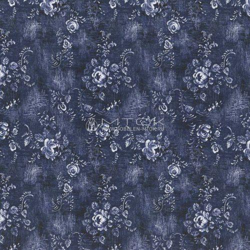 Гобелен, ткань жаккардовая Гжель-джинса с цветами