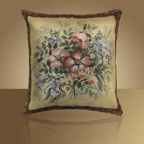 Декоративная наволочка, чехол из гобелена Букет с шиповником