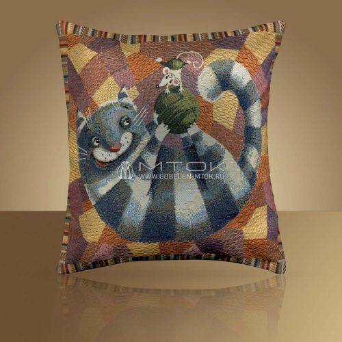 Декоративная наволочка, чехол из гобелена Кот полосатый