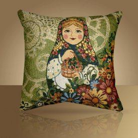 Декоративная наволочка, чехол на подушку Матрешка-Лето