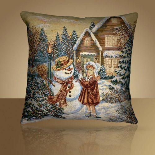 Декоративная наволочка, чехол на подушку Снеговик и девочка