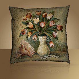 Декоративная наволочка, чехол из гобелена Тюльпаны в вазе