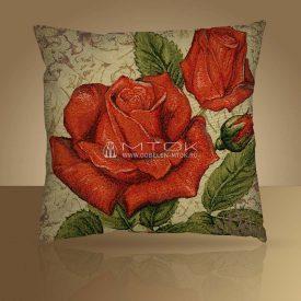 Декоративная наволочка, чехол на подушку Розы красные