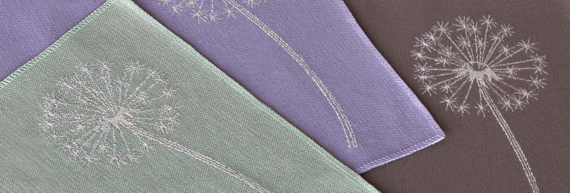 Салфетки с серебряной вышивкой «Одуванчики»