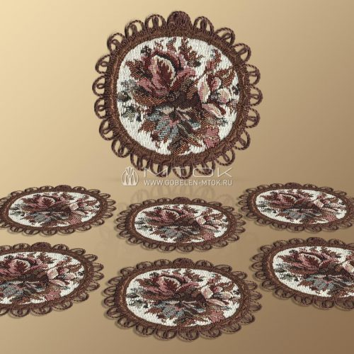 Салфетки из гобелена, комплект Цветочная поляна (малая)