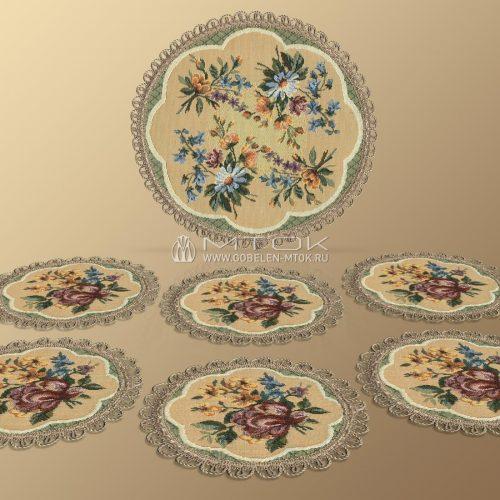Салфетки из гобелена, комплект Цветочное кружево (большой)