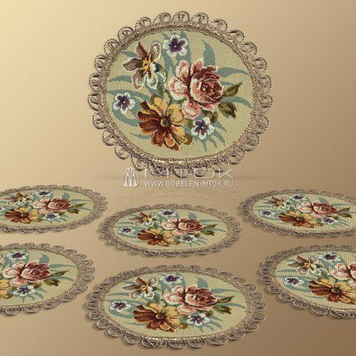 Салфетки из гобелена, комплект Цветы Дианы