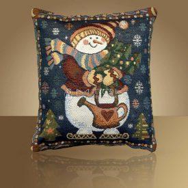 Декоративная наволочка, чехол из гобелена Снеговик