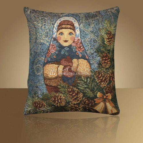 Декоративная наволочка, чехол из гобелена Матрешка-Зима
