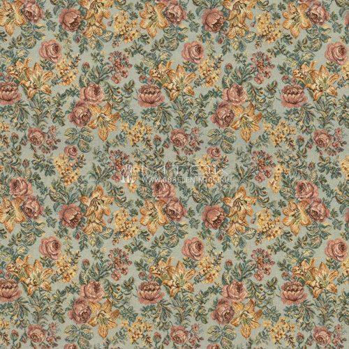 Жаккардовая ткань, гобелен Цветочная композиция (голубой фон)