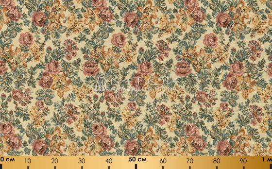 Ткань жаккардовая, гобелен Цветочная композиция (бежевый фон)