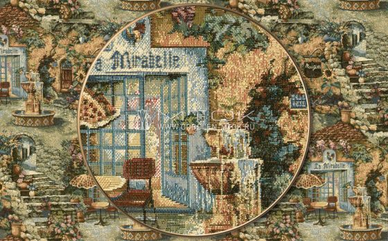 Ткань жаккардовая, гобелен Райский сад