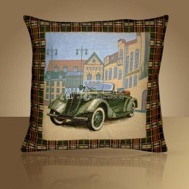 Декоративная наволочка, чехол на подушку Зеленое авто