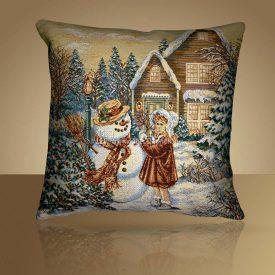 """Чехол на подушку """"Снеговик и девочка"""""""