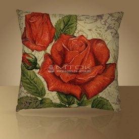 """Подушка из гобелена """"Розы красные"""""""