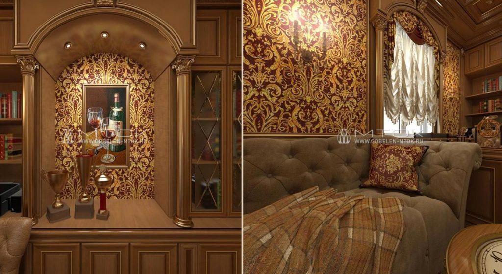 Текстильная отделка классического кабинета с использованием жаккардовых тканей
