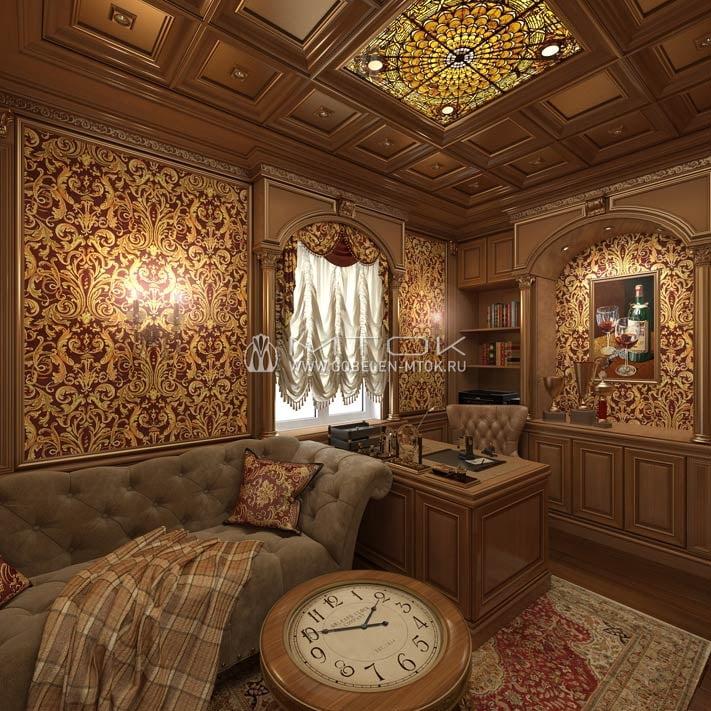 Жаккардовая ткань в интерьере кабинета в классическом стиле