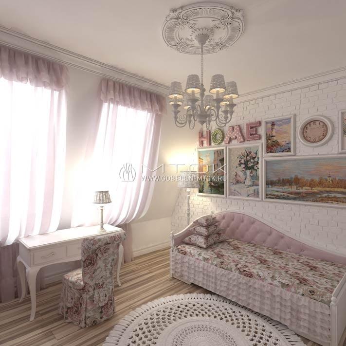 Жаккардовая ткань в дизайне девичьей спальни в стиле прованс