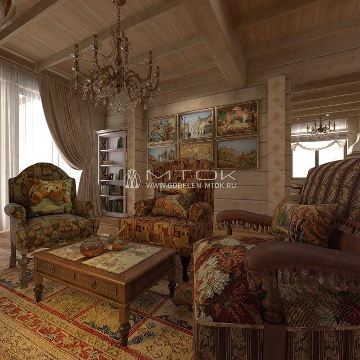 Жаккардовая ткань в дизайне гостиной загородного дома в стиле кантри