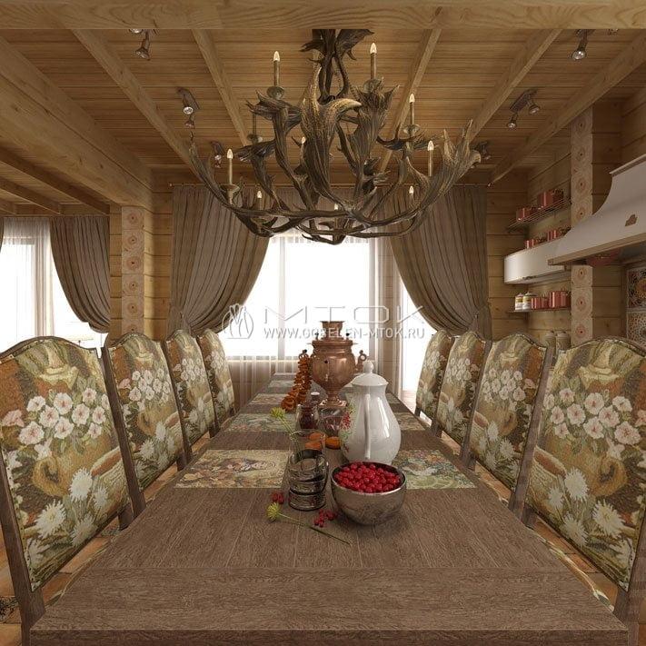 Жаккардовая ткань в дизайне столовой загородного дома в стиле кантри