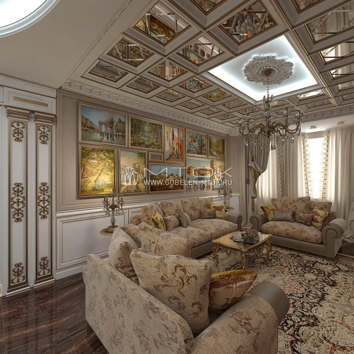 Жаккардовая ткань в интерьере гостиной в стиле ренессанс
