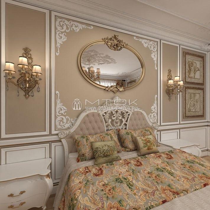 Жаккардовая ткань в интерьере спальни в стиле ренессанс
