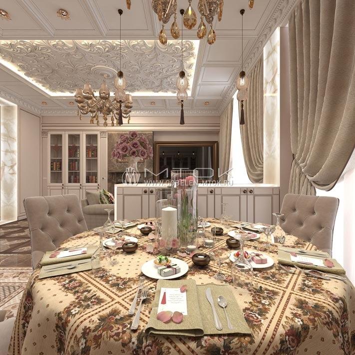 Жаккардовая ткань в интерьере столовой в стиле арт-деко