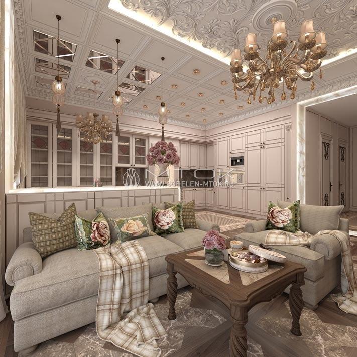 Жаккардовая ткань в интерьере светлой гостиной в стиле арт-деко