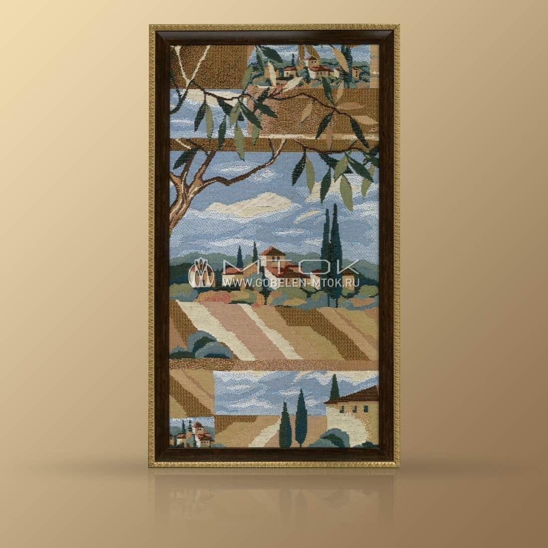 Гобеленовая картина «Пейзаж с оливами» на стене в гостиной