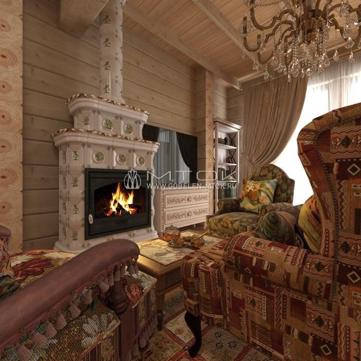 Гобелен «Чили» в гостиной в стиле кантри