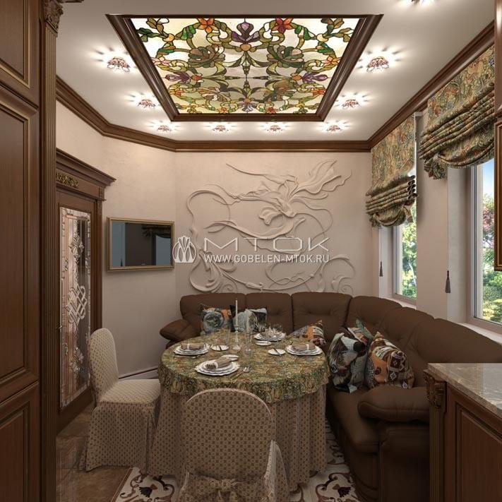 Гобеленовые ткани и аксессуары в интерьере кухни в классическом стиле