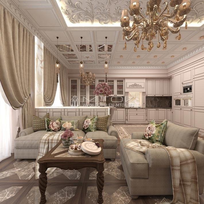 Гобеленовые ткани и аксессуары в интерьере кухни-гостиной в стиле арт-деко