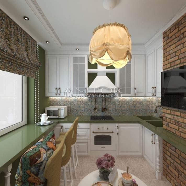 Гобеленовые ткани и аксессуары в интерьере модной лофтовой кухни