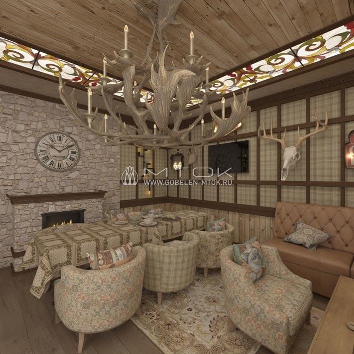 Обеденная зона в интерьере кухни-гостиной в стиле шале