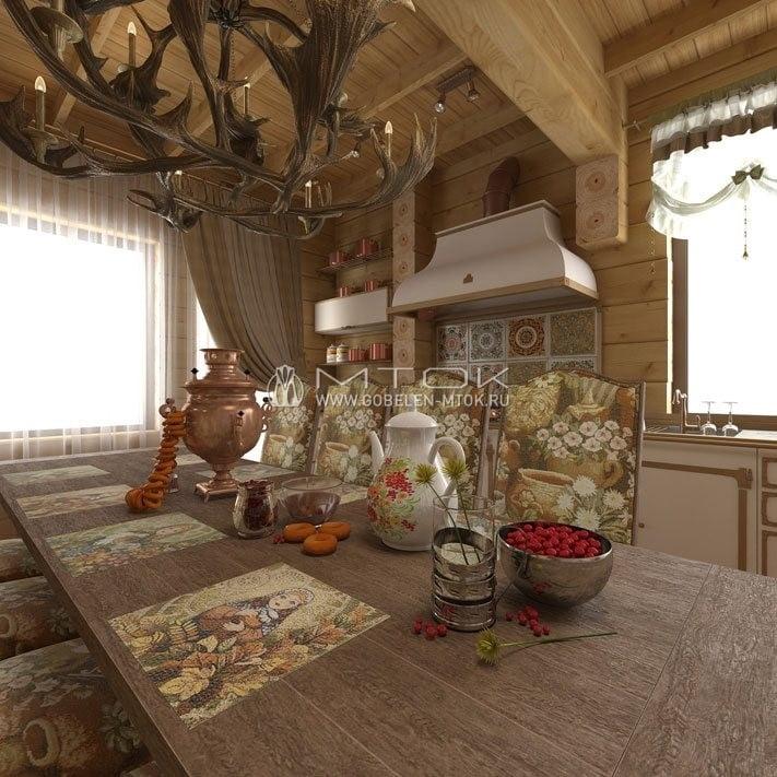 Кухня в стиле кантри с текстильным декором