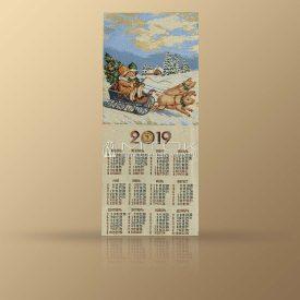 """Календарь из гобелена на 2019 год """"Рождественская прогулка"""""""