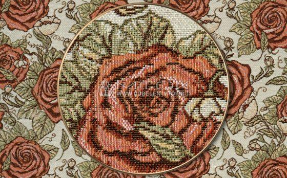 """Раппорт: Ткань жаккардовая """"Графические розы"""""""