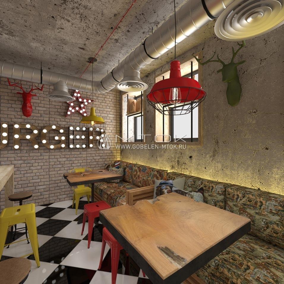 Гобеленовые ткани в интерьере кафе в стиле фьюжн