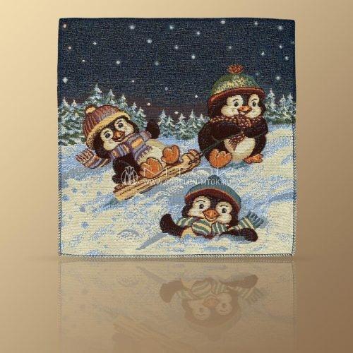 Идеи подарков на новый год детям. Салфетка гобеленовая «Пингвины на санках»