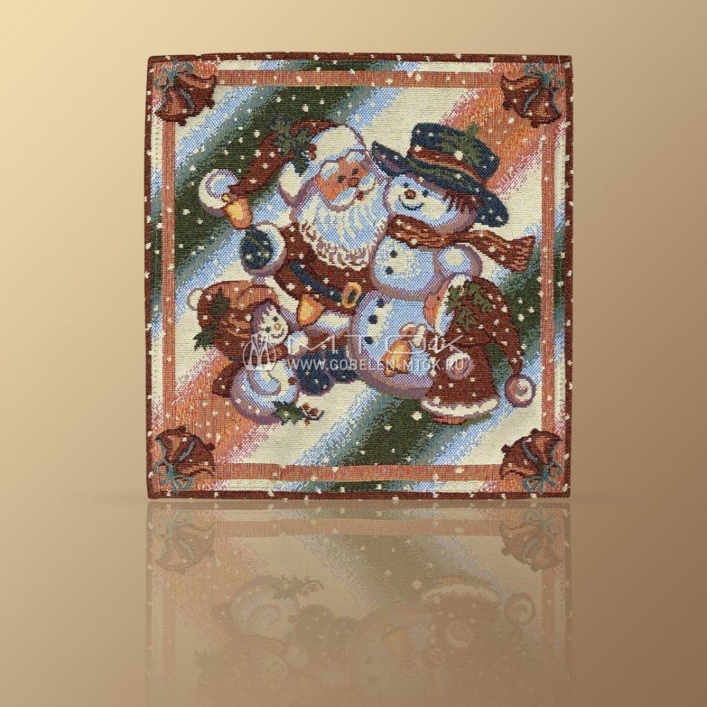 Идеи подарков на новый год детям. Салфетка гобеленовая «Снеговики»