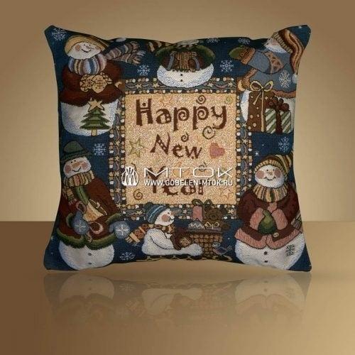 Идеи подарков на новый год. Гобеленовый чехол на подушку «Снеговики»