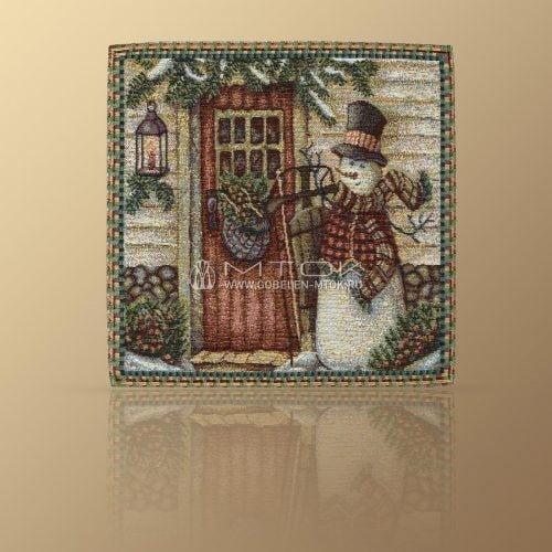Идеи подарков на новый год детям. Салфетка гобеленовая «Веселый снеговик»