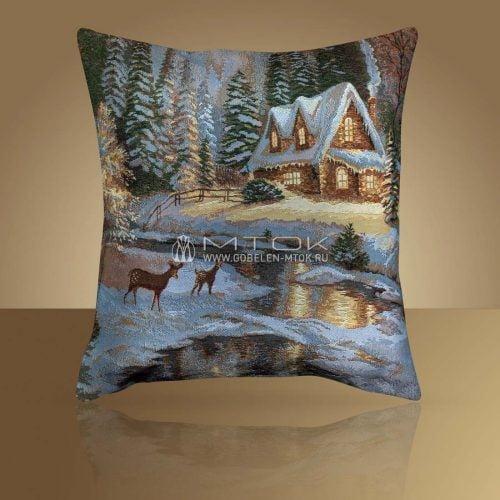 Идеи подарков на новый год. Гобеленовый чехол на подушку «Зимний домик»