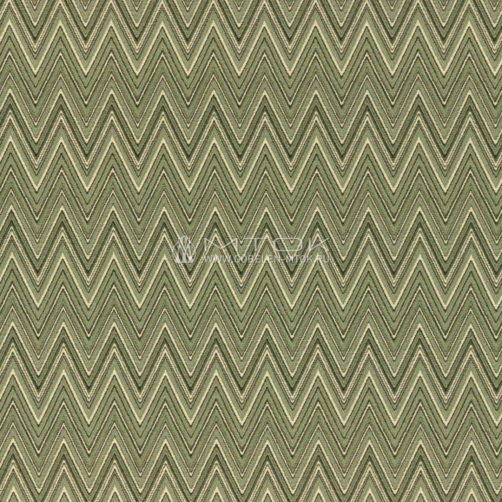 Ткань жаккардовая в стиле бохо «Зигзаг зеленый»