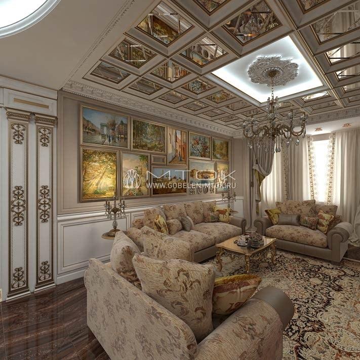 Интерьер гостиной в классическом стиле с обитыми шениллом диванами