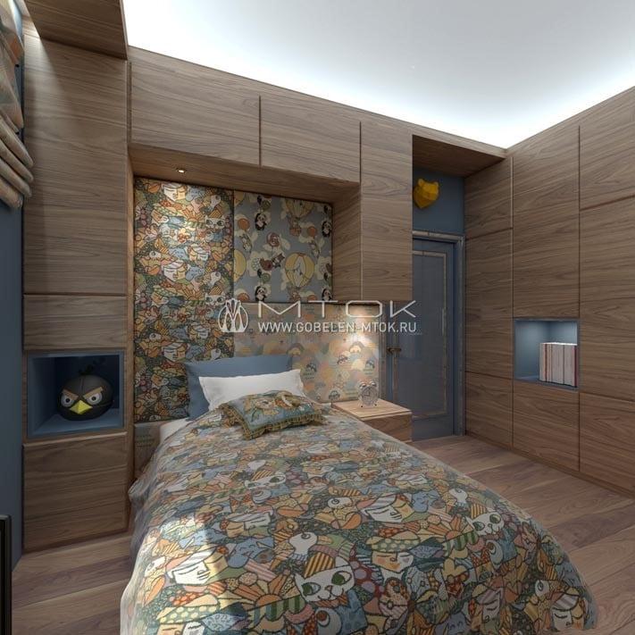Интерьер детской комнаты с элементами лофта и минимализма и текстильным декором из шенилла «Пикассо»