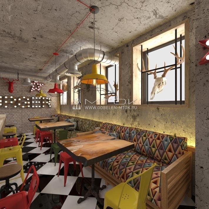 Кафе в стиле фьюжн с диванами, обитыми модным жаккардом