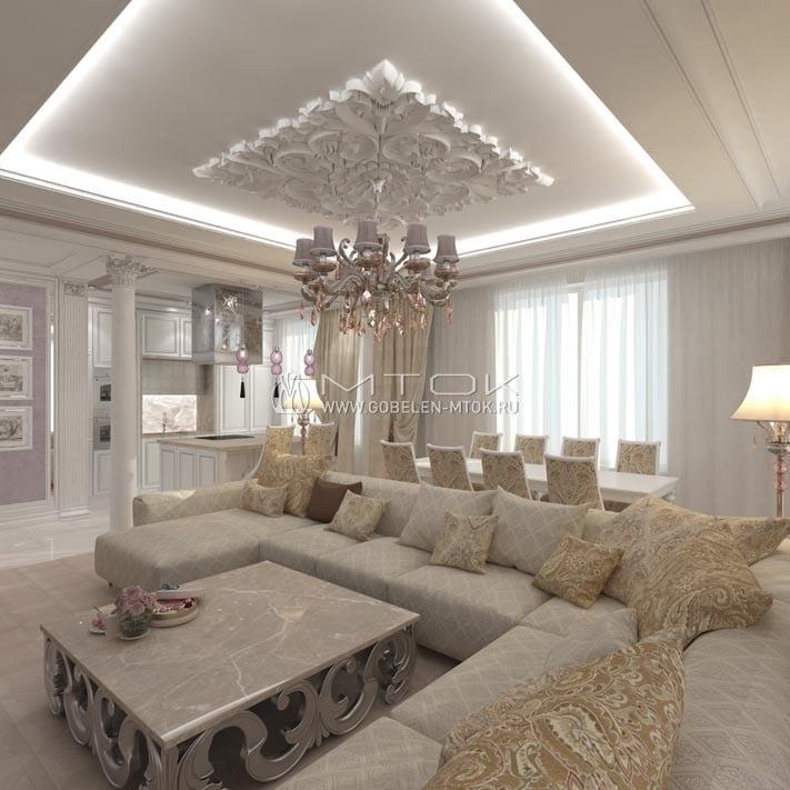 Неоклассическая гостиная со светлым текстилем