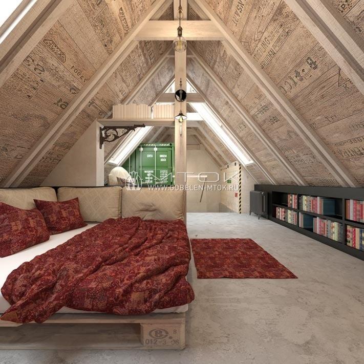 Мебельный шенилл в интерьере лофтовой спальни в мансарде
