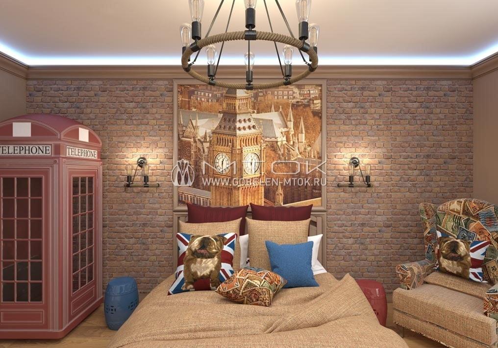 Интерьер спальни в стиле лофт с жаккардовым текстилем